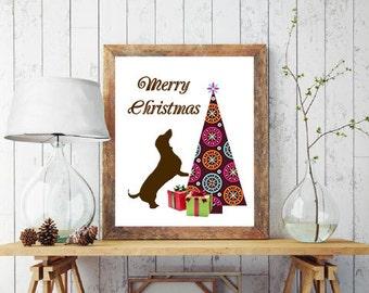Christmas Dachshund Art