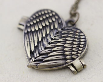 Angel Wings Locket Pendant Necklace Heart Lockets Christmas Gifts L99-