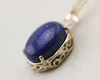 Gold Lapis Lazuli Necklace Christmas Gifts -1314-