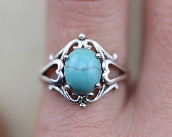 Sleeping Beauty Blue Sky TURQUOISE Navajo Arizona Spirit Inspired oval stone ring Halloween jewelry Christmas gifts