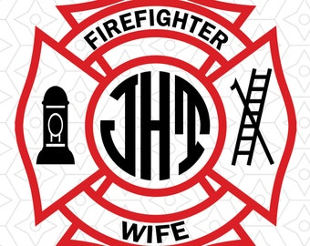 Firefighter Wife Monogram Frame Decal Design, SVG, DXF, EPS Vector files for use with Cricut or Silhouette Vinyl Cutting Machines