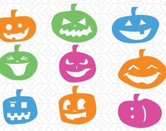 Jack O Lantern Halloween Decal Collection, SVG, DXF and AI Vector Files for use with Cricut and Silhouette Vinyl Cutting Machines