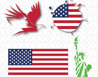 American Patriot Decal Collection, SVG, DXF and AI Vector Files for use with Cricut and Silhouette Vinyl Cutting Machines