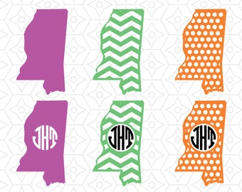 State of Mississippi Monogram Frame Decals, SVG, DXF and AI Vector Files for use with Cricut and Silhouette Vinyl Cutting Machines