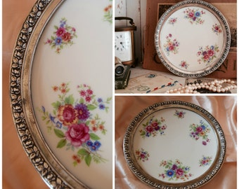 "Vintage Lenox China/ Aurora Porcelain & Wallace Repoussé Sterling Silver Rim Dessert Plate/ 1930s Lenox Made in USA/ 7.25"" diameter"
