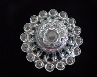 Vintage Anchor Hocking  Berwick Pattern-Boopie Ball Ribbed Clear Glass Candle Holders Set Of 2