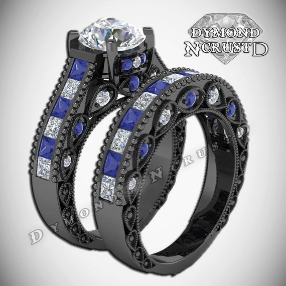 Blue Doctor Who Wedding Ring Set