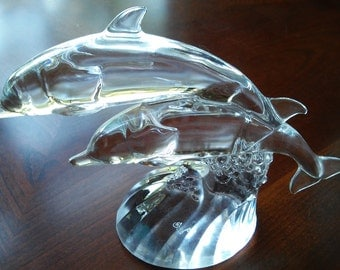 """Crystal Twin DOLPHINS - GOEBEL 6"""" tall X 7 1/2"""" wide"""