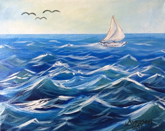 """8""""x10"""" Ocean Waves Painting"""