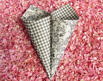 Confetti Cones - Black and White Floral Lace and Gingham Wedding Confetti Cones - ten heavyweight elegant wedding cones - mix and match!
