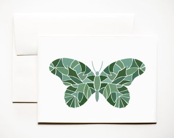 Greeting Card: Mosaic Butterfly Art Card A7 (5x7), Plain
