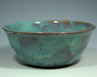 Turquoise and Brown Cereal Bowl - Soup Bowl - Salad Bowl - Ice Cream Bowl - ceramic - stoneware - ready to ship