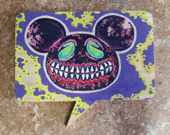 Zombie Mickey Mouser Wood Art word bubble