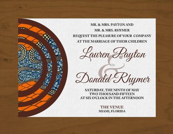 African Wedding Invitation: Printable African Inspire Wedding Invitation