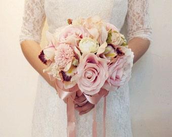 Custom Made Wedding Bouquet Bridal Bridesmaid Aartificial Flower Roses Posy Handmade Decor