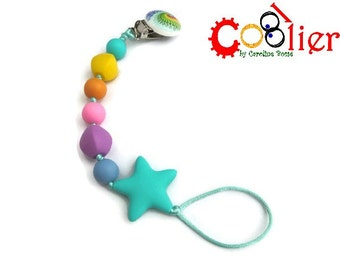 "rainbow pacifier clip  ""Attach your star"" - shipping included in Canada"