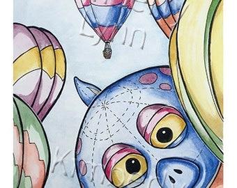 Monster Balloon, Albuquerque, NM - Whimsical Watercolor Art, Blank Greeting Card (A20)