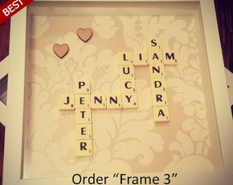 Scrabble Frame, scrabble, family sign, family print, family word art, family wall art, family wall decal, family picture
