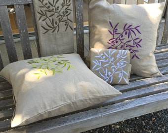 Embroidered linen pillow cover  - Housewarming Gift - Wedding Gift - Botanical series - Olive leaves