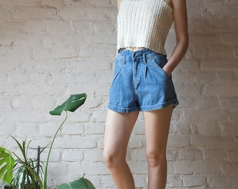 80's Vintage Denim Shorts in Light Blue