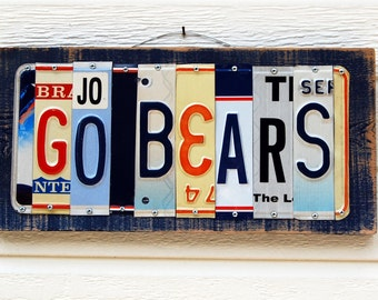 GO BEARS - UC Berkeley / Cal Berkeley /Chicago Bears license plate sign / tailgate / alumni / graduation gift