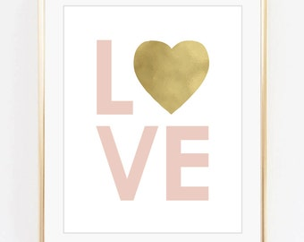 Love print, Nursery art, Kids room decor, Baby girl room art, Gold foil print, Pink, Printable art, Digital poster Instant Download 8x10