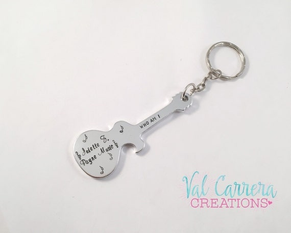 bottle opener keychain hand stamped and personalized guitar. Black Bedroom Furniture Sets. Home Design Ideas