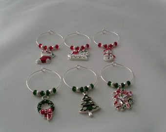 Christmas holiday themed wine charms