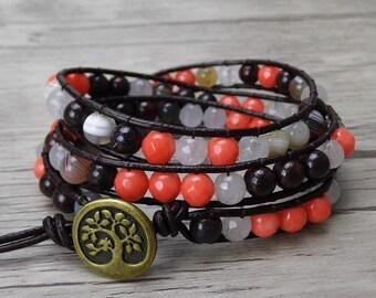 Gemstone wrap bracelet 3 wraps bracelet agate Boho bead bracelet yoga wrap bracelet gypsy Leather bracelet Bohemian bead jewelry SL-0298