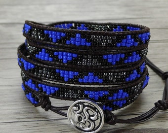 Bead Leather wrap bracelet Royal blue bead wrap bracelet OM seed bead bracelet 5 wraps leather bracelet yoga bracelet bead jewelry SL-0403