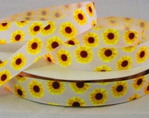 """7/8"""" Sunflower Grosgrain Ribbon By The Yard, Bow Supplies, Scrapbook Supplies, Ribbon for Bows, Crafting Supplies, Craft Supplies"""