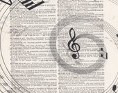 Swirling Musical Notes Vintage Dictionary Art Print Black and White Laser Ink Printed on Vintage Dictionary Pages One of a Kind