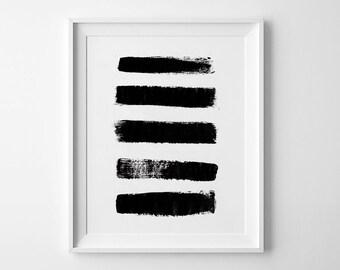 Abstract Print, Brush Art, Black Abstract Art, Abstract wall art, modern wall printable poster, Minimalist Wall Art, Black Brushstrokes