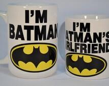 I'm batman and i'm batman's girlfriend,funny mugs,funny coffee mugs,personalised mugs,custom mugs,personalized mugs,personalized coffee mug