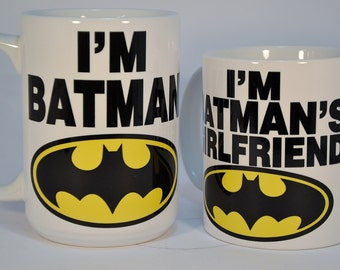I'm batman and i'm batman's girlfriend,funny mugs,funny coffee mugs,personalised mugs,custom mugs,personalized mugs,personalized coffee mug