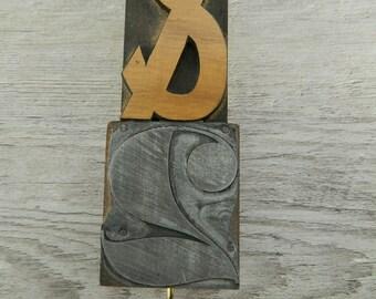 Repurposed Wood Type Key Holder, Upcycled Letterpress Key Storage, Vintage Letterpress Key Holder