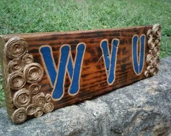 WVU Rustic Wood Sign