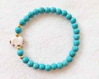 Turquoise and White Elephant Gold Stretch Beaded Bracelet Jewelry