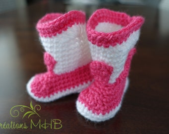 Baby Fuchsia and white slippers
