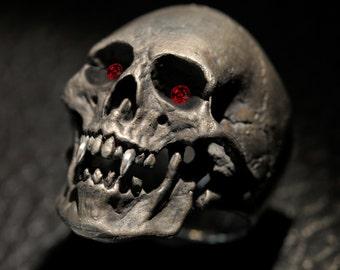 Vampire Skull Ring,Mens Silver Skull Ring, Dracula ring, Rocker ring, Goth ring, Sterling Silver Skull Ring with rubies,Etsy,Dead Rings.925