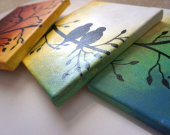 Two Birds on a Tree Acrylic painting, Set of 3 canvases, Multi-colored