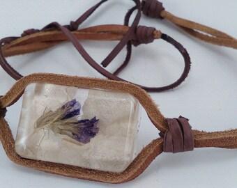 Leather Adjustable Choker With Handmade Resin Pendant