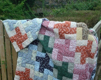Hand Quilted Pinwheel Quilt, Traditional American Pattern SPECIAL PRICE