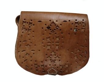 Vintage Style Hand Made Oiled Leather Cutwork Satchel Shoulder or Cross Body Bag