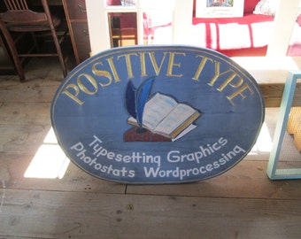 Vintage Large Artist Hand Carved Sign For Printers Rural Main Street Shop! Excellent Condition