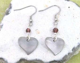 Twisted Heart Charm Birthstone Earrings Gift