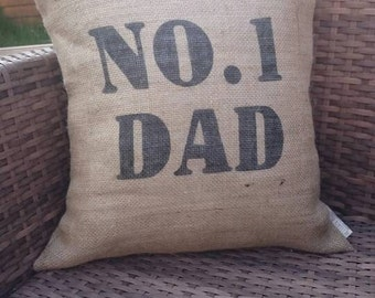 No.1 dad number one fathers day hessian cushion cover gift jute burlap