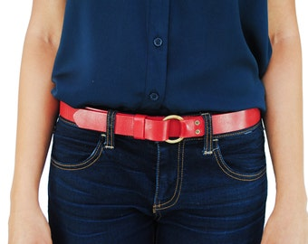 Red Leather Ring Belt
