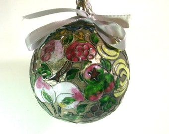 Vintage Cloisonne Ball Ornament on Silver Antimony