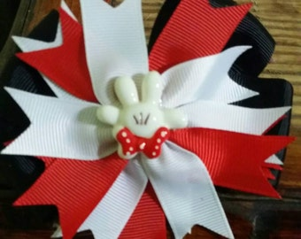 Minnie Mouse themed bow, Minnie red and white, Minnie mouse birthday bow, Minnie mouse birthday